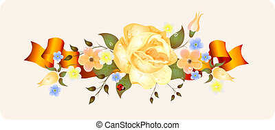 vintage flowers with ribbon