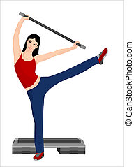 fitness - illustration of the girl doing sport exercises