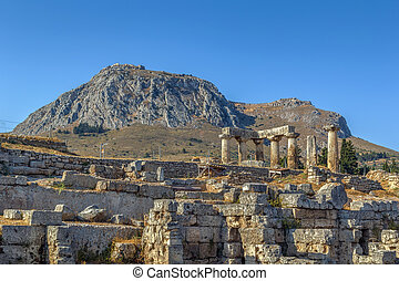 Temple of Apollo in ancient Corinth, Greece - The ruins of...