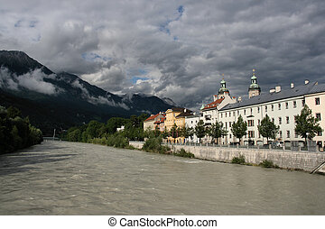 Innsbruck - River Inn and old town of Innsbruck, Tirol,...