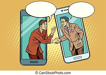 Online the talks of the two businessmen. Pop art retro...