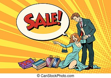 Wife and husband on sale. Pop art retro vector illustration....