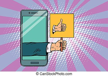 Thumb up gesture smartphone. Pop art retro vector...