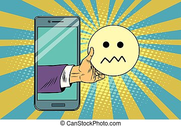 skepticism emoji emoticons in smartphone. Pop art retro...