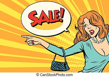 The woman indicates sales. Pop art retro vector illustration