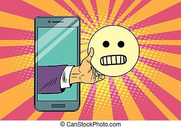 evil smile emoji emoticons in smartphone