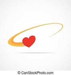 Coração, ícone, vetorial, Ilustração, voando
