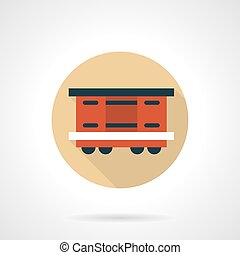 Covered wagon beige round vector icon - Red covered wagon...