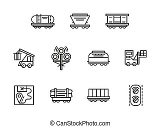 Railroad logistics black line vector icons set - Railroad...