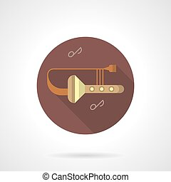 Trombone tunes flat brown round vector icon - Abstract...