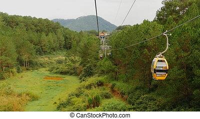 Cableway in Dalat city. Vietnam. (Shot in Full HD -...