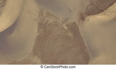 Sand landscape with dunes, aerial view - Flying over sand...