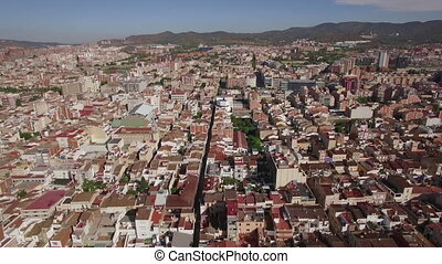 Aerial panorama of Barcelona, Spain - Aerial view of...