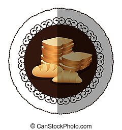 emblem color various types of bread icon, vector...