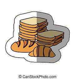 color various types of bread icon