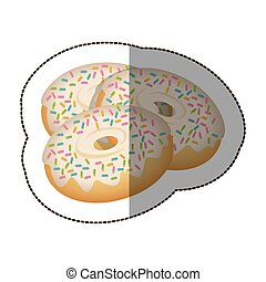 donut with colored sparks icon, vector illustraction design