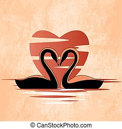 Two swans in front of heart retro style illustration....