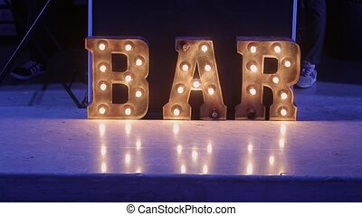 Bar word with lamps