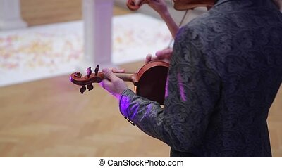 Man playing violin indoors shot