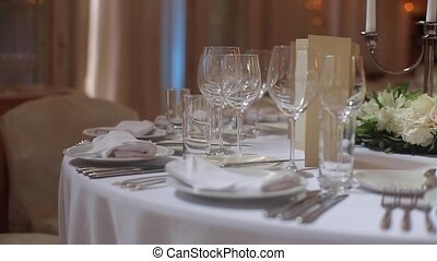 Glasses in plates in restaurant on party