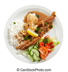 fried fish fillets - Plate of fried fish fillets with rice...