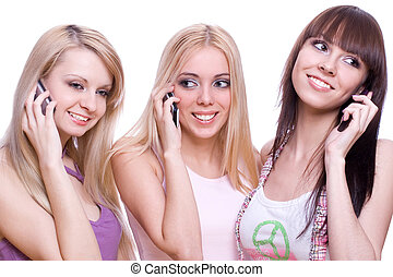three girls with phone on a white background