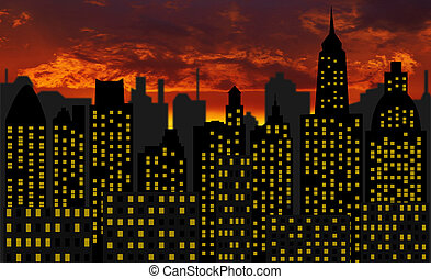skyscrapers - panorama of modern skyscraper town - Image of...