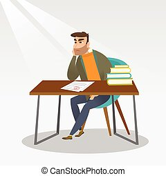Sad student looking at test paper with bad mark. - Caucasian...