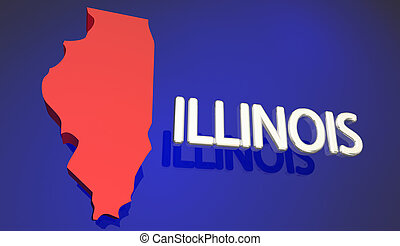 Illinois Red State Map IL Word Name 3d Illustration