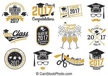 Vector Class of 2017 badge. - Set of Vector Class of 2017...