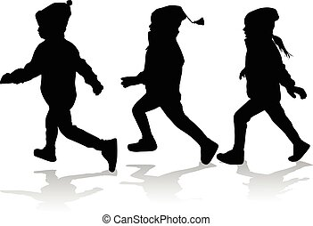 Silhouettes of children running.
