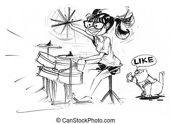 Girl playing drum set and fat cat say like - Cartoon...