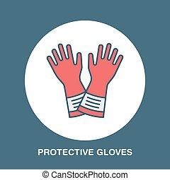 Safety gloves, hand protection flat line icon. Vector logo...