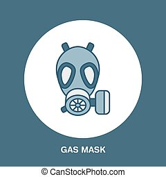 Gas mask, respirator flat line icon. Vector logo for personal protective equipment store. Health protection thin linear sign