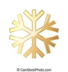 Gold snowflake icon. Vector illustration.