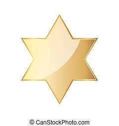 Golden hexagonal star icon. Vector illustration. Glossy...