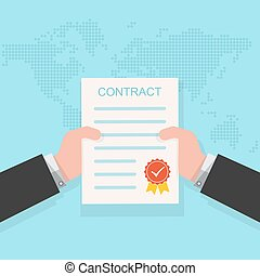 Contract in the hand. Vector illustration