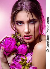 fuchsia color - Beauty portrait. Gorgeous young woman with...