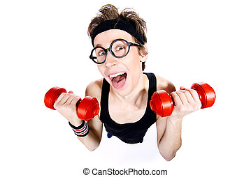 funny guy - Funny thin man doing exercises with dumbbells....