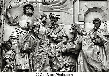 Nativity scene - Three wise men or three kings visit the...