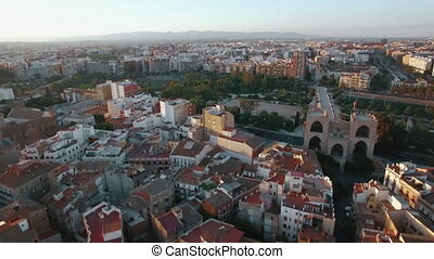 Aerial view of Valencia with architecture and green parks -...