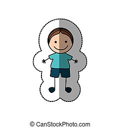 boy happy with brown hair icon, vector illustraction design