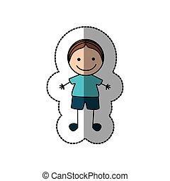 boy happy with brown hair icon, vector illustraction design