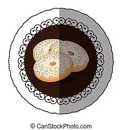 emblem color donut with colored sparks icon, vector...