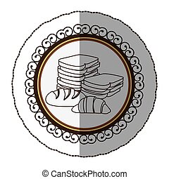 emblem sihouette various types of bread icon - emblem...