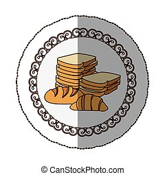 emblem various types of bread icon, vector illustraction...