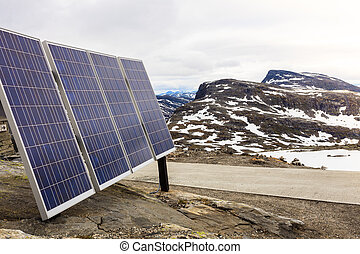 Photovoltaic solar panel outdoor in mountains nature -...