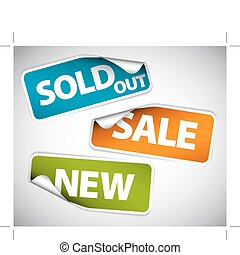 Stickers for the new, sold out and discount item - Set of...