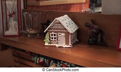 Gingerbread house indoors - Gingerbread brown and white...