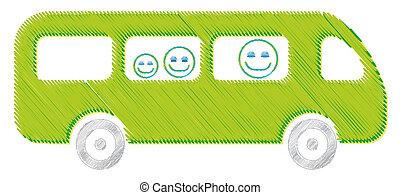 The bus drawing green illustration kid school